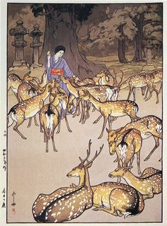"""Deer in Kasuga"" (1928) ~ by Hiroshi Yoshida _____________________________ Reposted by Dr. Veronica Lee, DNP (Depew/Buffalo, NY, US)"