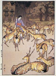 Deer in Kasuga  by Hiroshi Yoshida, 1928