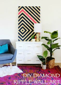 DIY Wall Art  Easy instructions for diamond painted wall art! Love the impact it makes on the room