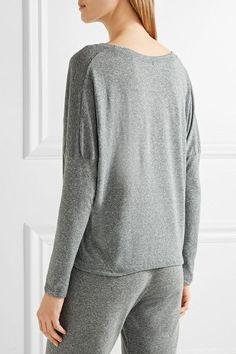 Eberjey - Heather Jersey Pajama Top - Gray - large