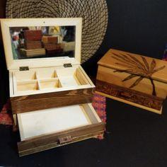 Rectangular box wood burned with a Samoan man