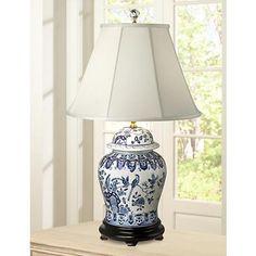 English Floral Hand-Painted Porcelain Ginger Jar Table Lamp