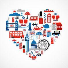 Londres amor - corazón con muchos iconos vectoriales — Ilustración de stock #10894564
