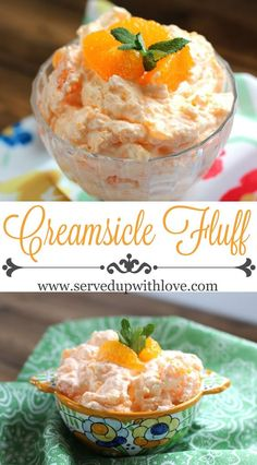 Fluff Creamsicle Fluff recipe from Served Up With Love. The perfect salad to take to any potluck or picnic this summer.Creamsicle Fluff recipe from Served Up With Love. The perfect salad to take to any potluck or picnic this summer. Fluff Desserts, Jello Desserts, Jello Recipes, Dessert Salads, Fruit Salad Recipes, Just Desserts, Easy Recipes, Fruit Snacks, Creamy Fruit Salads
