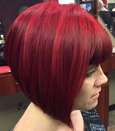 short stacked red bob
