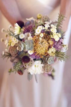 Sustainable bouquet out of succulents, dahlias, and rosemary. This bouquet ! Fall Bouquets, Fall Wedding Bouquets, Purple Wedding, Floral Wedding, Our Wedding, Wedding Flowers, Wedding Ideas, Wedding Bridesmaids, Trendy Wedding