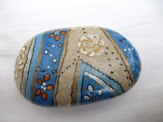 White rose stone - inspired hand painted stones