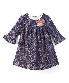 Navy Floral Lace Shift Dress - Infant, Toddler & Girls #zulily
