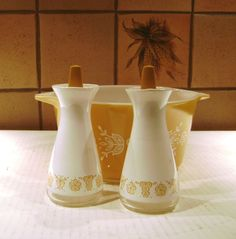 Vintage Salt and Pepper Shakers Pyrex Butterfly by junquegypsy, $11.20