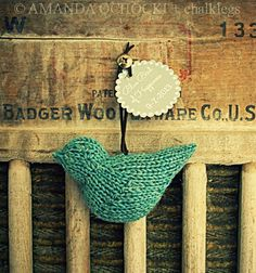 Knitted bird made by chalklegs. Free Bluebird of Happiness pattern by Sara Elizabeth Kellner