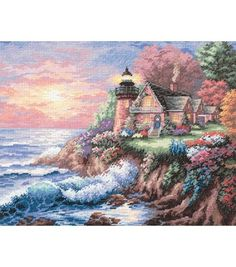 The pretty pink sky color with the waves crashing by the little house makes the picture perfect. I also like the color of the trees behind the little house, it reminds me of the four seasons.