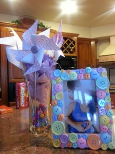 """""""Cute as a Button"""" baby shower decorations"""