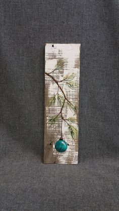 Christmas hand painted decoration Gift Turquiose Pine Branch with teal Bulb Reclaimed barnwood Pallet art Shabby chic Wood Pallet Projects Art barnwood Branch Bulb Chic Christmas Decoration gift Hand painted Pallet Pine Reclaimed shabby teal Turquiose Pallet Christmas, Christmas Signs, Christmas Art, Christmas Projects, Christmas Bulbs, Christmas Cookies, Christmas Ideas, Arte Pallet, Wood Pallet Art