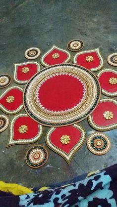 Colorful Rangoli Designs, Rangoli Designs Diwali, Diwali Rangoli, Mandir Decoration, Thali Decoration Ideas, Foam Board Crafts, Acrylic Rangoli, Diwali Decorations At Home, Rangoli Ideas
