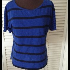 Blue and black stripe top 💙 Like new condition.   ❌NO OFFERS ON BUNDLES Talbots Tops