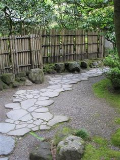Flagstone style path in Japanese Garden in Portland.