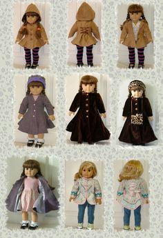 Carla Coat PDF pattern for 18 Doll or Bitty Baby by Genniewren