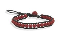 """7"""" + 1"""" Leather and Dyed Coral Bracelet"""