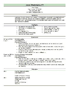 Resume Examples For Physical Therapist  Google Search  Resume