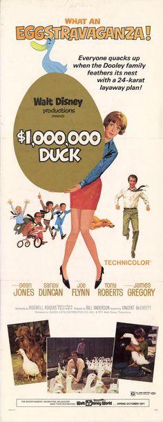 "Walt Disney's ""The Million Dollar Duck"" (1971) Stars: Dean Jones, Sandy Duncan, Joe Flynn, Tony Roberts, James Gregory, Lee Montgomery ~ Director: Vincent McEveety (Nominated for 2 Golden Globes, 1972)"