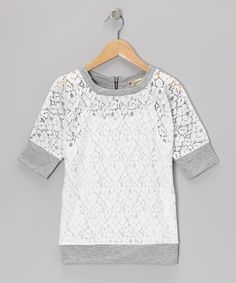 Take a look at this Cream & Gray Lace Dolman Top & Tank by Speechless on #zulily today!