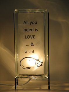 Cat Glass Block Lamp upcycled FREE SHIPPING handmade night light, cat decor cat art, all you need is love and a cat, catsitter gift, for her