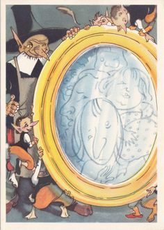 "Postcard Illustration by Goltz -- Hans Christian Andersen ""The Snow Queen"" - 1958, Soviet Artist"