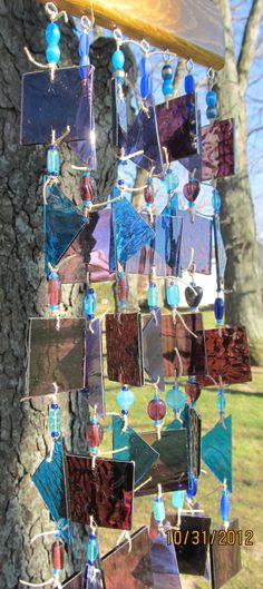 Stained Glass Art Wind Chime Purple Turquoise by glasscrushdesigns, $45.00