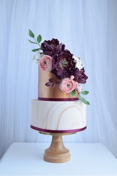 Copper, marble and purple wedding cake