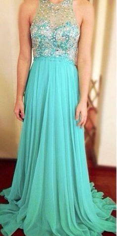 Free Shipping Keyhole Back Prom Dress,Handmade Beaded Tiffany