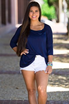 The Perfect Piko 3/4 Sleeve Top-Navy