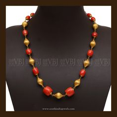 22K Gold Coral Mala Necklace, Gold Coral Bead Necklace, Traditional Gold Coral Necklace Designs.