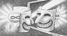 """Per introdurre il concetto di falsità mi sono spirata a una bellissima citazione di Luigi Pirandeloo """"Imparerai a tue spese che nel lungo tragitto della vita incontrerai tante maschere e pochi volt…"""