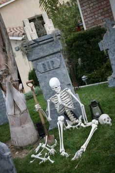 Fun! I already have the skeleton, spare bones and shovel... just need the headstone. I love Halloween!