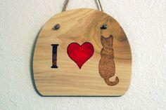 Woodburned Cat Wall Hanging on Cypress Wood by SpoiledFelinesArt