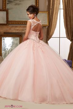 Cap Sleeves Quinceanera Dresses Scoop Ball Gown Tulle With Applique  Item Code:#JRPCN6TQ5A