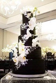 dark wedding cake light flower casacade within the cake luxsucredesserts Gothic Wedding Cake, Black Wedding Cakes, Unique Wedding Cakes, Beautiful Wedding Cakes, Wedding Cake Designs, Wedding Cake Toppers, Beautiful Cakes, Perfect Wedding, Unique Weddings