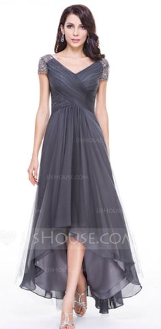 Gray A line princess gown