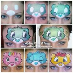 When you think about face painting designs, you probably think about simple kids face painting designs. Many people do not realize that face painting designs go beyond the basic and simple shapes that we see on small children. Face Painting Tips, Girl Face Painting, Face Painting Tutorials, Belly Painting, Face Painting Designs, Painting Patterns, Bear Face Paint, Mime Face Paint, Care Bear Party
