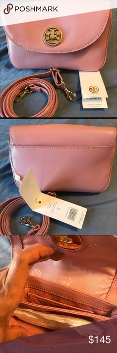 """Tory Burch Mercer Crossbody NWT Brand new with tags. Pink coral with long adjustable shoulder strap. Turn lock and 2 compartments inside. Never got a chance to use it. Beautiful pink and is all leather. Dust bag included. Negotiable. 7.5 """" L x 5"""" H x 4 """" W. Fits IPhone 7 plus or Samsung s8 Bags Crossbody Bags"""