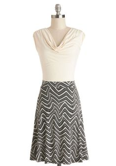 Pretty Packages Dress - Print, Casual, A-line, Twofer, Cap Sleeves, Good, Cowl, Jersey, Knit, Mid-length, Tan / Cream, Black, Work