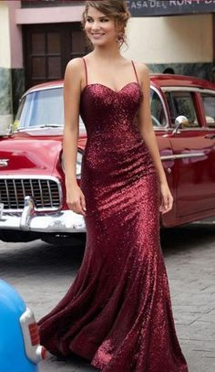 Charming Burgundy Sequin Sparkly Prom Dresses,Long Straps Party #prom #promdress #dress #eveningdress #evening #fashion #love #shopping #art #dress #women #mermaid #SEXY #SexyGirl #PromDresses