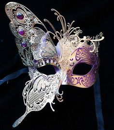 Dream Butterfly Laser Cut Venetian Masquerade Mask with Venetian Details - Made of Light Metal and Paper Mache [Gold/Purple]