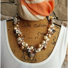 Please Pin if you like this new design!   See The New Summer Collection!   #blingbeadedbaubles   Check out my 20% OFF Sale!!!! Use Code: 20OFF  Bridal Pearl Statement Necklace, Handmade, Chunky, Bib, Collar, Twisted Wire Wrapped Necklace
