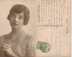 Hand Painted Real Photo Postcard of Miss Winifred Barnes 1916