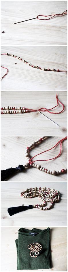 MallDou Jewelry Handmade Coloful Leather Cuff Bracelet Wrap Bangle Boho Bracelets with CZ for Women Teen Girl Boy Gifts - DIY Boho Jewelry: Tassel Chain with Wooden Beads - Bohemian Jewelry, Beaded Jewelry, Handmade Jewelry, Boho Gypsy, Jewelry Box, Diy Collier, Diy Mode, Diy Tassel, Tassels