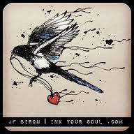 Magpie bird. Would be a cool if the heart was shattered