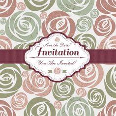 Invitación con motivos florales Vector Gratis