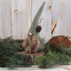 "Atticus the Nocturnal ~ Woodland Gnome 9"" Tall ~ Scandinavian Gnome - Forest Nordic Gnome ~ Fantasy ~ Wool Felt ~ The Gnomes Makers  #5 by RusticSpoonful on Etsy"