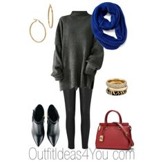 Stay warm in this super stylish outfit. Layer a comfy charcoal grey sweater tunic over leather leggings. Slide on some black ankle booties. Add a splash of royal blue with a scarf. And to keep this outfit from being predictable... carry a red bag!  This outfit will look great on a light spring, cool summer, clear winter, cool winter, deep winter and soft autumn. Click to shop this outfit...